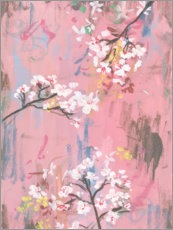 Akrylbillede  Cherry blossoms on pink - Melissa Wang