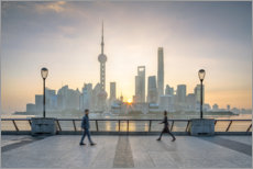 Premium-plakat Waterfront of Shanghai in front of the Pudong skyline