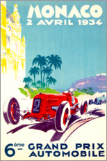Selvklæbende plakat  Grand Prix of Monaco 1934 (French) - Travel Collection