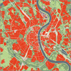 Akrylbillede  City map of Cologne, colorful - PlanosUrbanos
