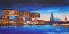 Akrylbillede  Cologne view, crane houses and cathedral - Renate Berghaus