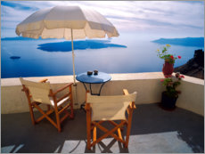 Galleritryk  Balcony with sea view in Oia - Jaynes Gallery