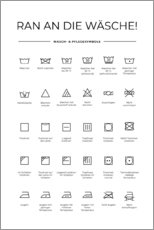 Print på træ  Washing and care symbols (German) - Typobox