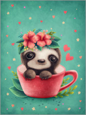 Premium-plakat Sweet sloth in a cup