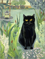 Lærredsbillede  Black cat in the garden - Deborah Eve Alastra