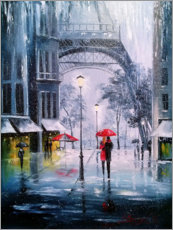 Akrylbillede  The first snow in Paris - Olha Darchuk