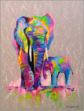 Akrylbillede  Elephant mother with child - Olha Darchuk