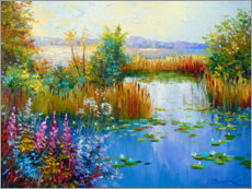 Selvklæbende plakat  Flowers by the pond - Olha Darchuk
