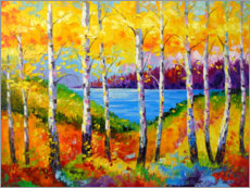 Akrylbillede  Bright birches by the river - Olha Darchuk
