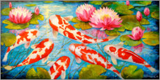 Lærredsbillede  Koi in the pond - Olha Darchuk