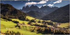 Premium-plakat Mountain idyll in autumn - Villnöß in the Dolomites