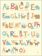 Print på skumplade  Animal alphabet (Swedish) - Petit Griffin