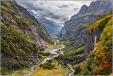 Akrylbillede  Remote valley in the Alps - The Wandering Soul