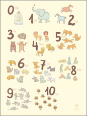 Print på træ  Numbered animals (Swedish) - Petit Griffin