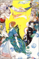 Selvklæbende plakat  A woman in an elaborate gown, possibly Queen Mab - Harry Clarke