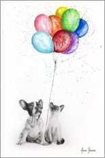 Premium-plakat Frenchie and Siamese with colorful balloons