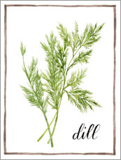 Akrylbillede  Herbal illustration dill - Grace Popp