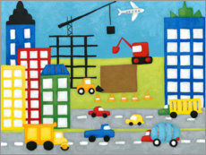 Premium-plakat Cars and construction site in the city