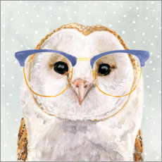 Akrylbillede  Owl with glasses - Victoria Borges