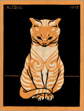 Premium-plakat  Sitting cat, colored - Julie de Graag