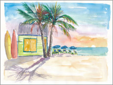 Akrylbillede  Surf bar on the beach in the Caribbean - M. Bleichner