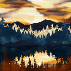 Akrylbillede  Fall Sunset Landscape - SpaceFrog Designs