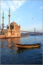 Selvklæbende plakat  Rowboat and Ortakoy Mosque - Ali Kabas