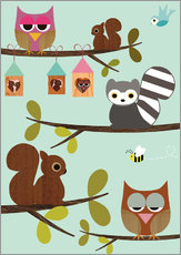 Selvklæbende plakat  Happy Tree with cute animals - owls, squirrel, racoon - GreenNest