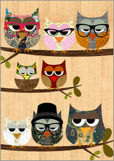 Selvklæbende plakat  Nerd owls on branches - my friends and me - GreenNest
