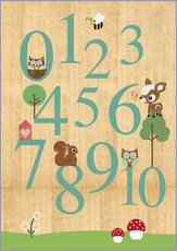 Selvklæbende plakat  Educational Numbers - learn to count - GreenNest