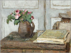 Selvklæbende plakat  Still life with the artist painting set and a vase with moss roses - Edouard Vuillard