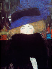 Selvklæbende plakat  Lady with Hat and Feather Boa - Gustav Klimt