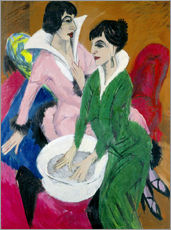 Selvklæbende plakat  Two women with washbasin, The sisters - Ernst Ludwig Kirchner