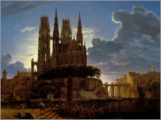 Selvklæbende plakat  Cathedral over a city - Karl Friedrich Schinkel