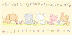 Selvklæbende plakat baby pet animals with alphabet and numbers