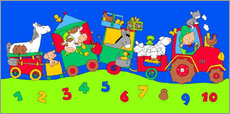 Selvklæbende plakat  tractor train with farm animals and numbers - Fluffy Feelings