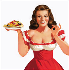 Galleritryk  the girl with a pizza - Tanja Doronina