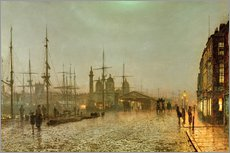 Selvklæbende plakat  Hull Docks by Night - John Atkinson Grimshaw