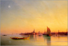 Akrylbillede  Sunset in the bay of Venice - Ivan Konstantinovich Aivazovsky