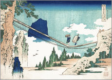 Selvklæbende plakat  The Suspension Bridge on the Border of Hida and Etchu Provinces - Katsushika Hokusai