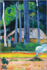 Print på skumplade  Hut in the Trees - Paul Gauguin