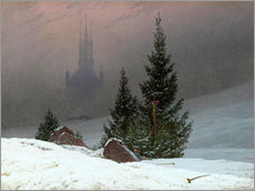 Selvklæbende plakat  Winter Landscape with a Church - Caspar David Friedrich