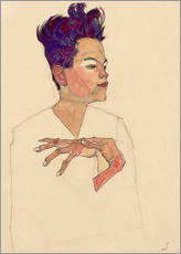 Galleritryk  Self Portrait with Hands on Chest - Egon Schiele