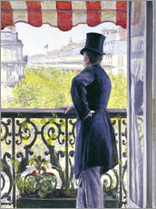 Selvklæbende plakat  Man on a balcony - Gustave Caillebotte
