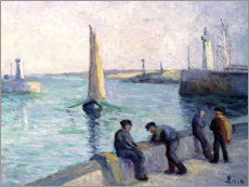 Lærredsbillede  The fishermen at the dock - Maximilien Luce
