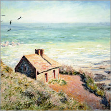 Lærredsbillede  Fisherman's Cottage on the Cliffs at Varengeville - Claude Monet