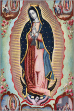 Selvklæbende plakat  The Virgin of Guadalupe with the Four Apparitions - Nicolas Enriquez