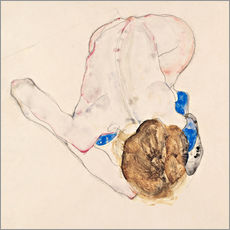 Galleritryk  Nude with Blue Stockings, Bending Forward - Egon Schiele