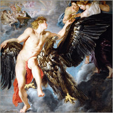 Selvklæbende plakat  Abduction of Ganymede - Peter Paul Rubens