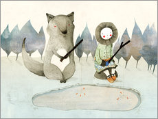 Galleritryk  The little Inuit girl and the wolf - Judith Loske